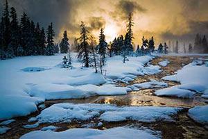 Sonnenaufgang im Yellowstone Park