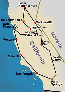 California Treasures Tour Map