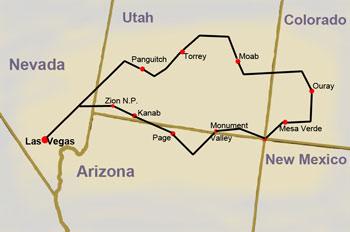 Reiseroute: Reise von Las Vegas nach Las Vegas