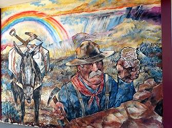 Wandmalerei mit Goldgräber in Ely, Nevada - Foto mit freundlicher Genehmigung von Claudia Kleinen