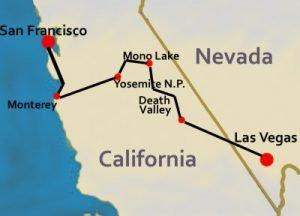 Tour map Sierre Navada Las Vegas - San Francisco